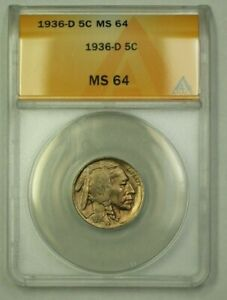 1936-D Buffalo Nickel 5c ANACS MS-64 (E) (WW)