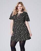 Simply Be Capsule Womens Ladies Black White Star Print Tea Dress 10 12 14