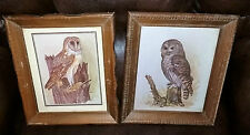 Pair of Vintage Wood Framed Owl Prints by E Rambow