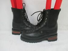 Smack USA Black Leather Combat Punk Lace Motorcycle Boots Mens Size 5.5