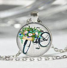 Watercolor Bicycle Tibet silver dome Glass Cabochon Necklace chain Pendant #538