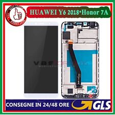 LCD DISPLAY+FRAME PER HUAWEI Y6 2018 /HONOR 7A TOUCH SCREEN SCHERMO VETRO BIANCO