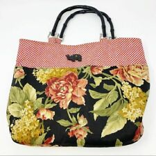 Vintage Women's Floral Elephant Checkered Canvas Cane Handle Purse Handbag Bag