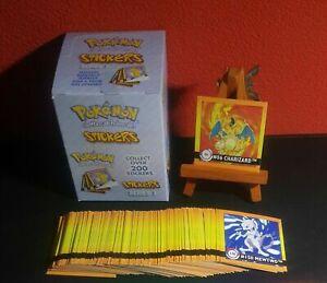 Pokemon komplettes 150/150 Sticker Set 1999 Artbox English Charizard Glurak
