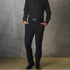 Mens Flexi Waist Stretch Business Pants Work Trousers   Black Charcoal Navy