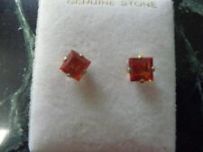 14K Solid Gold Padparadsha Sapphire Stud Earrings
