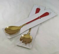 Serving Pieces Slotted Spoon Fork Cake Server Pink or Red Handles You Pick