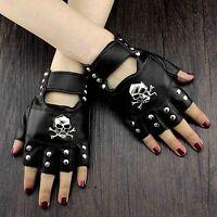 Skull Studded Punk Rock Biker Driving Women's Leather Fingerless Gloves