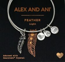 Alex and Ani Feather Bracelet Silver-Tone Bangle Adorned With Swarovski Crystals