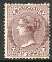 Mauritius 1863 purple-brown 1d crown CC mint SG56