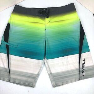 O'Neil Lopez Freak Green Blue White Board Shorts Mens Size 36 Bathing Suit