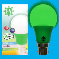 2x 6W LED Green Coloured GLS A60 Light Bulb Lamp BC B22 Low Energy 110 - 265V