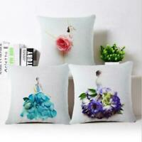"18"" Flowers Girl Cotton Linen Pillow Case Sofa Throw Cushion Cover Home Decor"