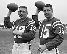 JOHNNY UNITAS AND EARL MORALL COLTS QUARTERBACK GREATS ,8x10 PHOTO INTENSE LOOK
