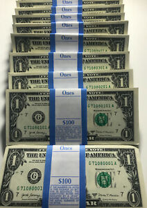 OneStack - 2017A ONE DOLLAR $1 Notes CRISP UNCIRCULATED from BEP PACK from BRIC