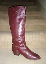 "Sacha of London BURGUNDY Flat Heel 16.5""-Tall Italian Leather BOOTS  7N"