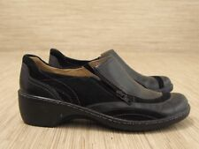 Clarks Artisan Black Leather Shoes Women's Size 6 M Zip Fastener Loafers Clogs