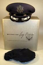 USAF US Air Force Male Field Officer Dress Blues Hat Cap Bullion w/ Box & Cover