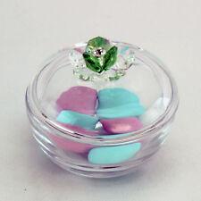 DLM25723 Scatola portagioie in vetro con fiore cristallo Verde (kit 6 pezzi) bom
