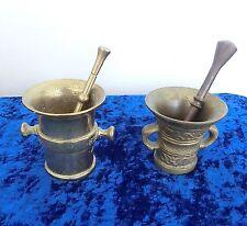 2 alte Mörser mit Stößel Pistill Messing Bronze Apotheke schwer -k