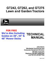 ON SALE!  JOHN DEERE Technical Manuals TM-1582 GT242, GT262, GT275 + MOWER DECKS