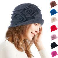 Womens 100% Wool Cap Beret Two Floral 1920s Winter Beanie Cloche Bucket Hat A287