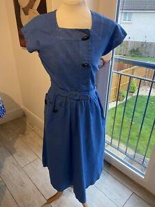 STUNNING VINTAGE 50's  BLUE BELTED TEA DRESS UK 8 SMALL
