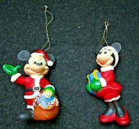 Vintage Set/2 Disney Mickey & Minnie Mouse Hard Plastic Christmas Hang Ornaments