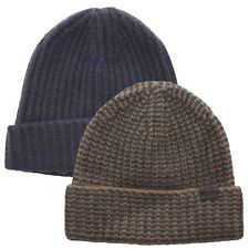Coach 84091 Cashmere Striped Knit Hat Navy Blue Tan Gray Beanie Cap