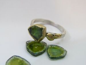 Tourmaline ring. 18K yellow gold and sterling silver ring set with tourmaline