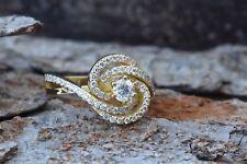 14k Yellow Gold Fn 925 Silver 0.50ct Moissanite & Sim Diamond Engagement Ring