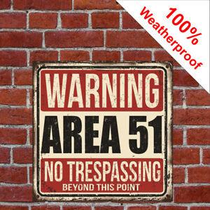 Warning Area 51 vintage style sign 9502 Fun novel gift ideas