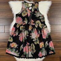 Anthropologie Maeve Women's Size Medium Black Floral Violetta Baby Doll Dress