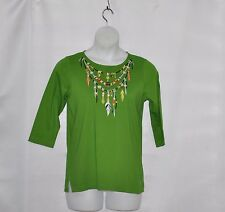 Bob Mackie Indian Feather & Bead Necklace Top Size S Green