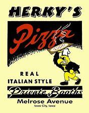 Iowa Hawkeye Basketball Football Wrestling Poster Art Herky Pizza 11x14 HERK09