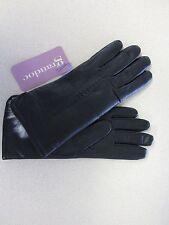 Women's Grandoe Soft Black Leather Wrist Gloves with Rabbit Trim sz L,S