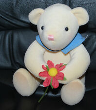 "Hallmark Pitter-Patter! Cream Teddy Bear Holding Flower 8"" Plush Stuffed Animal"