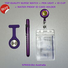 Value Pack Quality Medical Pen Light + SEIKO MOVT Nurse Fob Watch+ID Accessory