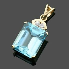 9ct Yellow Gold Blue Topaz And Diamond Set Pendant-Gift Boxed