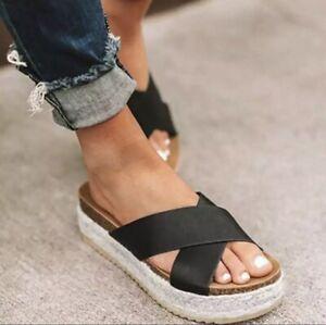 NEW Espadrille Sandals Black US 9 Wedge Open Toe