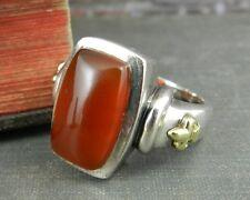 Ann King Sterling Silver & 18K Fleur-De-Lis Carnelian Ring - Size 8