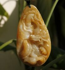 Certified Type A Natural Gorgeous Yellow Jadeite Jade Carved Dragon Pendant #705