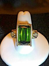 Y.Gray Designs 22ct Green Tourmaline Diamond 14k Yellow Gold One Of A Kind Ring