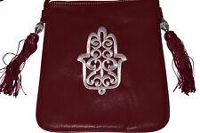 Moroccan Faux Leather Handbag Purse Hamsa Embroidered Shoulder Bag Burgundy