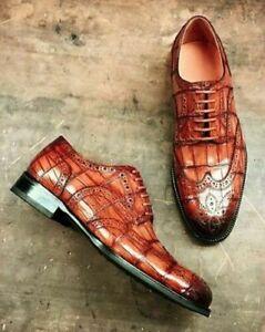 Handmade Men's Genuine Crocodile Print Leather Wingtip Brogue Lace up Shoes