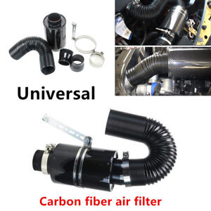 Carbon fiber Air filter Cool Induction Ram Cold Air Intake System w/Intake Hose