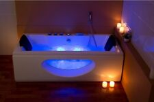 Lujo Whirlpool bañera champanger con vidrio calefacción ozono frente de cristal LED para baño