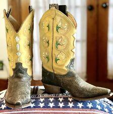 JUSTIN VINTAGE L6302 Women's Cowboy Western  Tan & Black Leather Boots Size 6 B