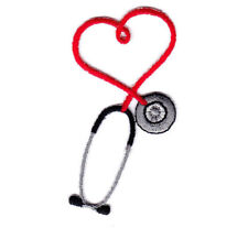 Stethoscope Red Iron On Patch Medic Doctor /Nurse, Medic