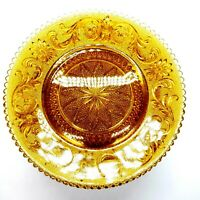 "Vintage Tiara Indiana Glass Sandwich Pattern Amber Luncheon Plate 8"" D Set of 12"